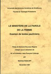 ministère de la parole de la femme, textes pauliniens, paul